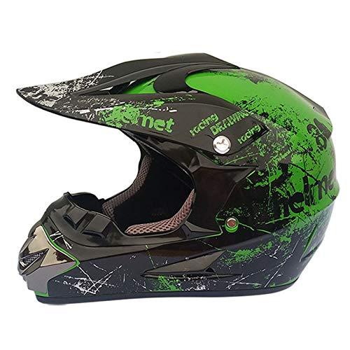 Full Face Off Road Motocross Quad Crash Helmet Downhill Dirt Bike MX ATV Adult Motorbike Helmet, Gloves, Goggles, Mask 4 Piece Set for Adult Men Women DOT
