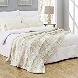 Silver Fern Premium Double-Sided Faux Fur Throw Blanket - Large: 50x60 Inches, Ivory Mink - Plush Velvety Soft Minky Material - Luxury Softness & Warmth - Machine Washable