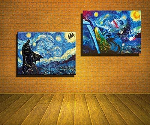 artwu HD Printed Oil Paintings Home Wall Decor Art On Canvas Batman,Joker,Starry Night 16x24inchx2 Unframed-374