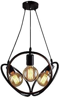 TYUIO Black Pendant Light Lantern Chandelier Farmhouse 3 Lights E27 Base, Dining Room Lighting Fixtures Hanging Kitchen Is...