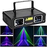 oultia DJ Lights, 2 Beam Effect Party Lights RGB Sound Activated LED Stage Light by DMX Control Strobe Light for Disco Dancing Birthday Bar Pub Stage Lighting