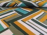 Viskosejersey, Grafisches Muster auf Senf als Meterware, 50