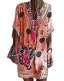 Minetom Donna Copricostume Costume da Bagno Parei Spiaggia Tunica Bikini Cover up Beachwear Mare Stampa Mini Abito Vestito con Pizzo B Arancione 44