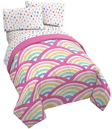 Jay Franco Rainbow Dream 4 Piece Twin Bed Set - Includes Comforter & Sheet Set - Super Soft Fade Resistant Microfiber