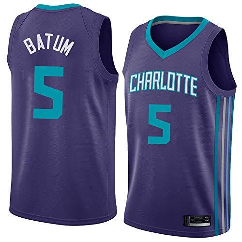 LITBIT Baloncesto para Hombres NBA Jersey Hornets 5# Batum City Edition 2021 Transpirable Secado rápido Resistente al Desgaste Vestima sin Mangas Top para Deportes,Púrpura,XL