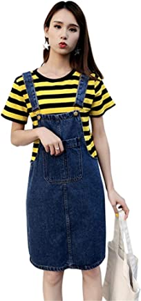 d7797222a99 Aimeely Vintage Women Knee Length Overall Jean Dress Suspender Denim Skirt  Plus Size
