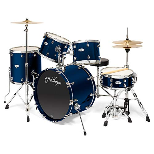 Ashthorpe 5-Piece Full Size Adult Drum Set with Remo Heads & Premium Brass Cymbals - Complete Professional Percussion Kit with Chrome Hardware - Blue