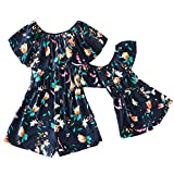 IFFEI Mommy and Me Matching Jumpsuit Dress Off Shoulder Floral Ruffle Printed Casual Short Rompers for Mother and DaughterToddler Girl: 3-4 Years