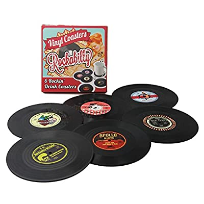 Coasters Set of 6 Colorful Retro Vinyl Record Disk Coaster for Drinks with Funny Labels - Desktop Protection Prevents Furniture Damage - Tabletop Drink Coasters from Coostors