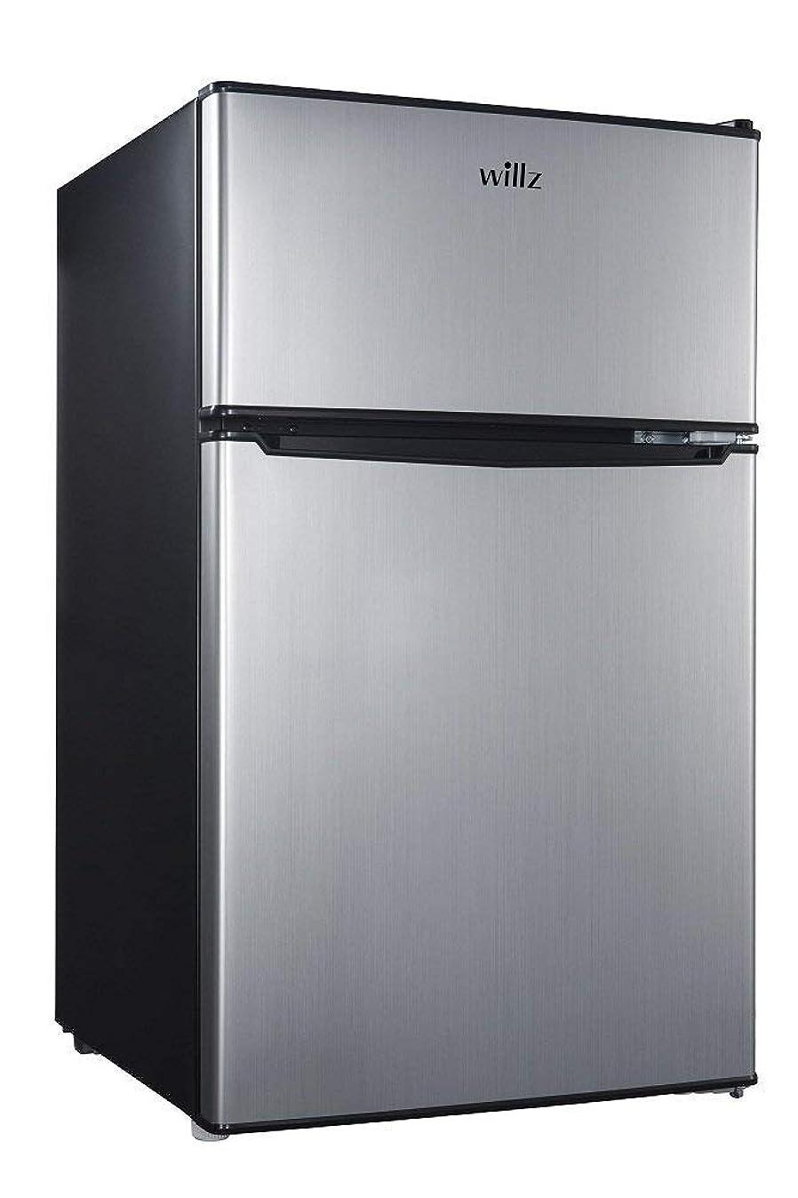 Willz 3.1 Cu Ft Refrigerator Dual Door True Freezer, Stainless Steel