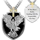 Viking - Collares para hombre, diseño de Arcángel San Miguel con escudo de San Miguel, colgante de cruz de la fe