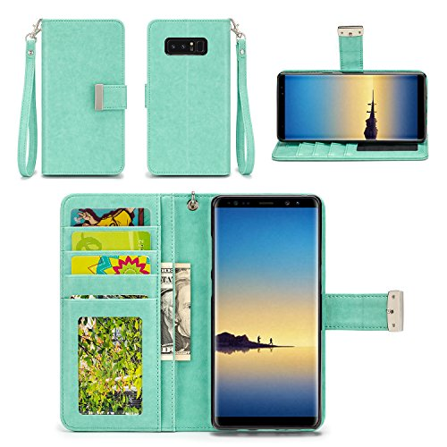 Samsung Galaxy Note 8 Case - IZENGATE [Classic Series] Wallet Cover PU Leather Flip Folio with Stand (Mint)
