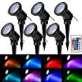 ZODIC Landscape Spotlights, 36 LED Waterproof Outdoor Lights Colorful Spot Light Long Distant Remote Control Garden Lighting with Spiked Stand for Garden Pathway Yard Patio Lawn Decoration-Set of 6