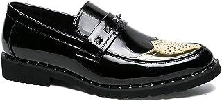 Calzado de ala de negocios casual Elegante cómodo y transpirable Oxford de negocios de la moda de los hombres Nuevo estilo de costura personalidad de charol Brogue zapatos Wingtip Calzado de ala de de
