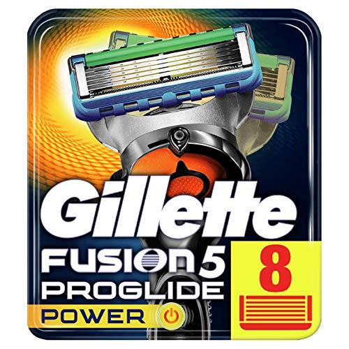 Gillette Fusion5 ProGlide Power, 8 Lame di Ricambio per Rasoio per Rifinire le Aree Difficili, Dotato di Striscia Lubrificante Lubrastrip, Pacchetto Addatto per la Casella Postale