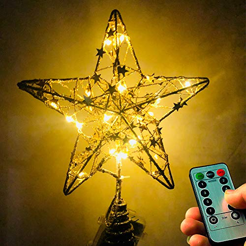 NIGHT-GRING Christmas Tree Topper Star LED Lights Star Treetop Battery Operated Christmas Decorations Xmas Décor (Gold)