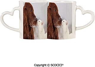 UHOO Marriage Coffee Mug | Irish Setter and Cute White Cat in Snow Playing Together Love Adornment Decorati Couple Mug/Lovers | Set of 2, 11.6 oz / 330 ml Ceramic Coffee Mug/Cup Heart-shaped Handle