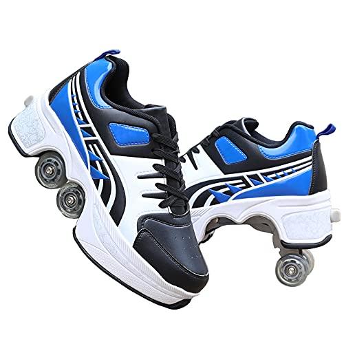TAOXUE Zapatos con Ruedas de Deformación Zapatos de Patinaje para Hombres y Mujeres Zapatos para Caminar Automáticos para Niños Adultos Patines Retráctiles
