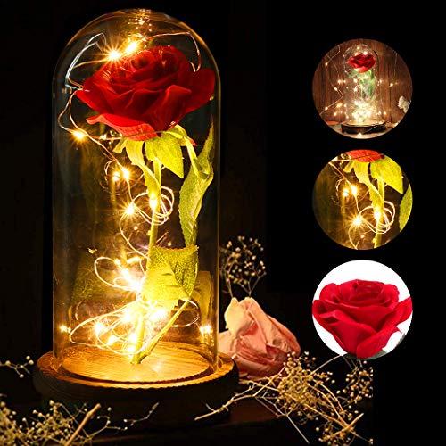 JUSTDOLIFE Rosa Eterna, La Bella y la Bestia Kit de Rosas y luz LED con Pétalos Caídos en la Cúpula de Vidrio en la Base de Madera para la Decoración del Hogar Boda Cumpleaños