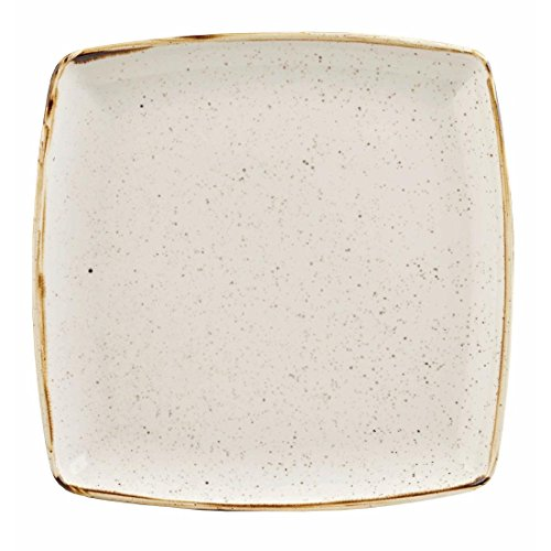 Churchill Stonecast Deep Square Plate Barley White 260mm (Pack of 6) - [DK529]