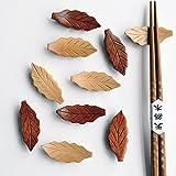 Japanese Natural Wooden Leaf Shape Chopstick Rest Spoon Fork Knife Holder,6 Pack (Q151010)