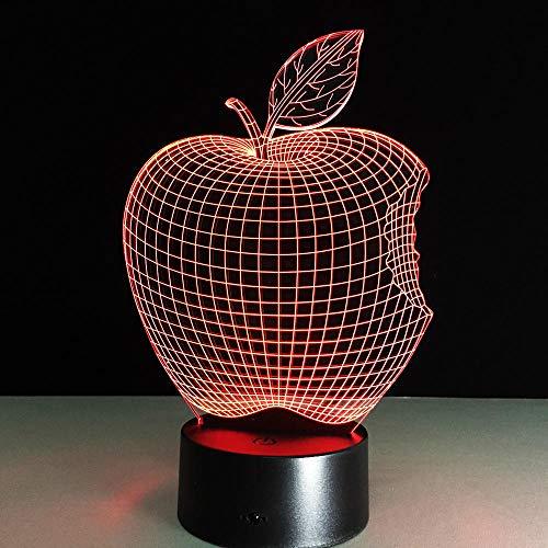 Ilusión de luz de noche 3d 7 variaciones de color Decoración de la habitación, Lámpara de mesa de noche Regalos para niños, niñas, jóvenes, adultos(manzana)