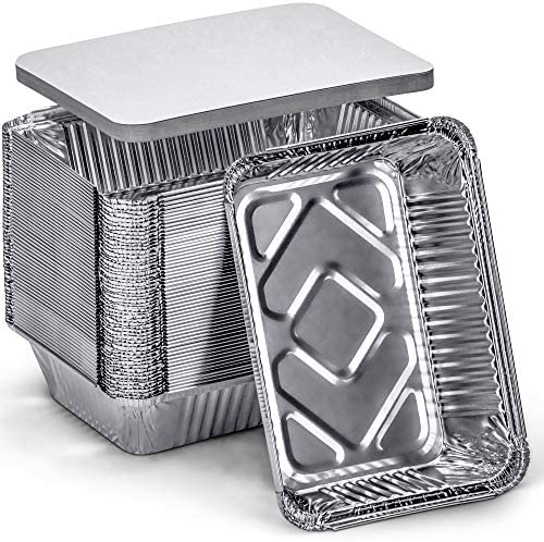 DecorRack 2 25 Lb Aluminum Pan Disposable with Flat Board Lid Heavy Duty Rectangular Tin Foil product image