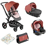 Jané Rider - Cochecito de bebe 3 piezas, capazo y portabebé homologados y silla de paseo, con bolso y plástico de lluvia, plegado compacto, hamaca reversible, unisex, color boho pink
