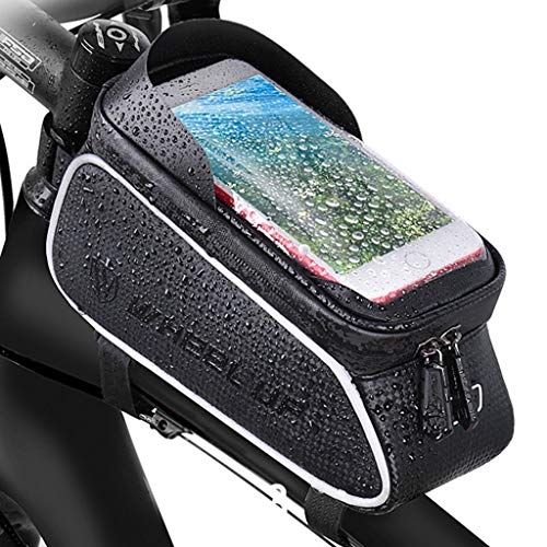 LWLEI 1.5L Waterproof Bike Phone Bag Bicycle Front Frame Phone Pouch Bike Phone Pack Suitable for Mobile Phones Under 6 Inches bikepacking (Color : Black)