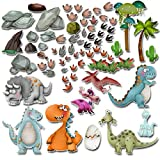 Dinosaurios Pegatinas de pared Calcomanías Vinilo Para Niños Pequeños Guardería Dormitorio Sala de Estar Decoración Pelar y Pegar