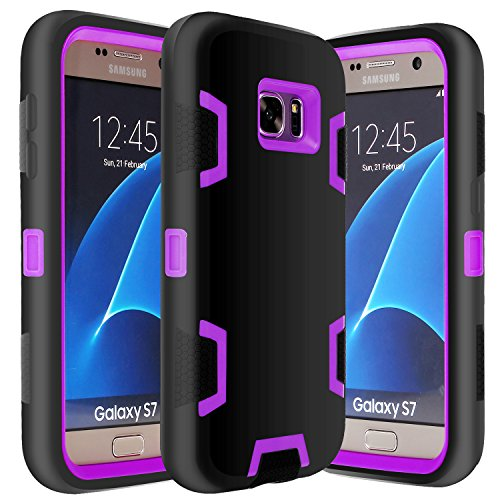 E LV Galaxy S7 Case Hybrid Defender Rugged Shockproof Dirtproof Case Cover for Samsung Galaxy S7 - [Black/Purple]