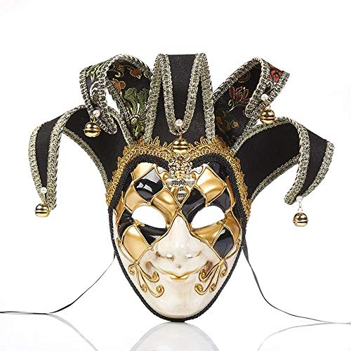 MeiYing Máscara de Mascarada Veneciana Máscaras de bufón de música Vintage Decoración de Halloween Suministros para espectáculos de Fiesta Colección de Arte Decorativo de Pared de Cara Completa, Rojo