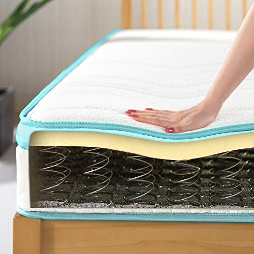 ZINUS(ジヌス)福袋すのこベッドユーロトップマットレス2点セットセミダブル高耐久コイルメタルヘッドボード付きベッドフレーム