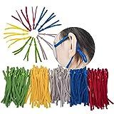 Lot de 100 élastiques pour masques de visage et élastiques pour couture 1/4' avec boucle réglable pour adulte et enfant Multicolore