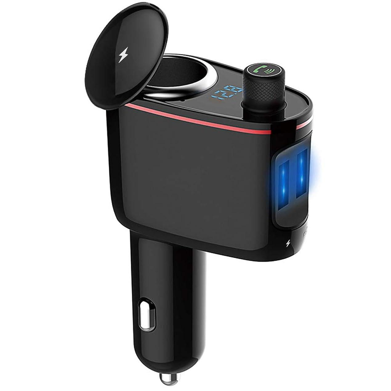 から聞く置き場チョップFMトランスミッター Bluetooth 4.2 高音質 ハンズフリー通話 2USB充電ポート 増設 100Wシガーソケット 電圧モニタリング 12V/24V車対応 日本語取扱説明書付