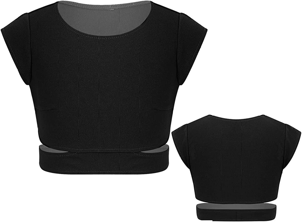 VernLan Basic Plain Short Sleeve Crop Top T Shirt for Teens Girls Gym Athletic Sports Active Belly Dance wear Tops