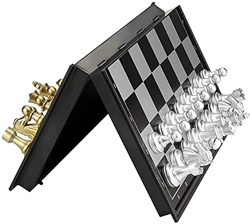 Conjunto de ajedrez, juego de ajedrez magnético plegable Junta de juego portátil - Ajedrez profesional para niños para niños Hombre adulto Mujeres adolescentes 2 Juegos de jugador - Regalo de juguetes