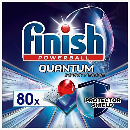 Finish Quantum Infinity Shine Spülmaschinentabs – Kraftvolle Reinigung mit besonderer Schutzformel für Gläser, Dekor, Silberbesteck – Sparpack mit 80 Finish Tabs