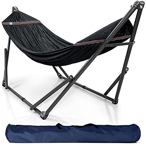 Tranquillo D5BS Universal Hammock Stand-1.2mm Thickness Steel Frame with Hanging Net, Double, Black