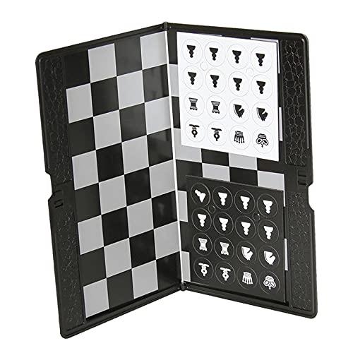 F Fityle Mini Juego de ajedrez magnético Plegable Cartera portátil de Bolsillo Juegos de Tablero de ajedrez para Viajes