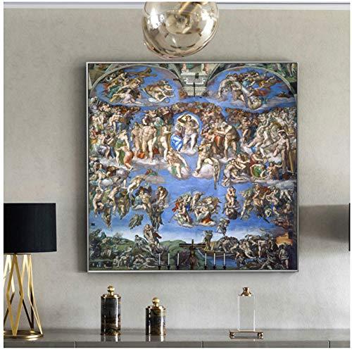 A&D Das Jüngste Gericht Gemälde Wand Von Michelangelo Reproduktionen Christian Wandkunst Leinwandbilder Für Wohnzimmer-60x60 cm Kein Rahmen