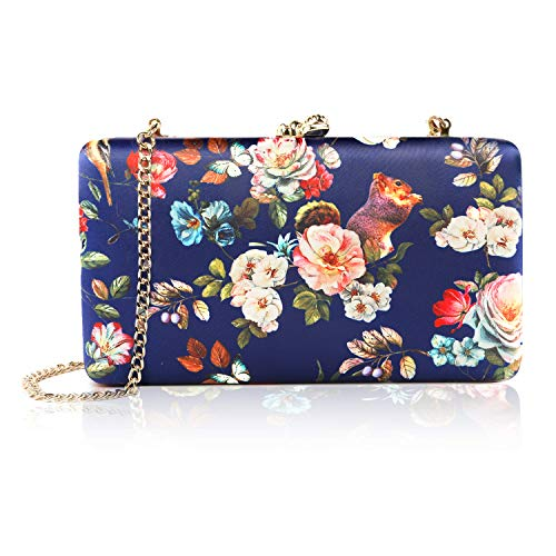 two the nines Flower Clutch for Women, Evening Bag Floral Print Clutch Bag Wedding Bride Clutch Purse Handbags, Navy