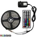 Unknow Tira de LED, Tira de luz LED RGB 5050 Cinta Flexible fita led Tira de luz RGB 5M 10M 15M Diodo de Cinta DC 12V + Control Remoto + Adaptador 15M Juego Completo no Impermeable