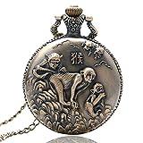 Nfudishpu Neueste Taschenuhr Chinese Zodiac Bronze Monkey Pattern Quarz Taschenuhr Halskette Taschenuhr Geschenk
