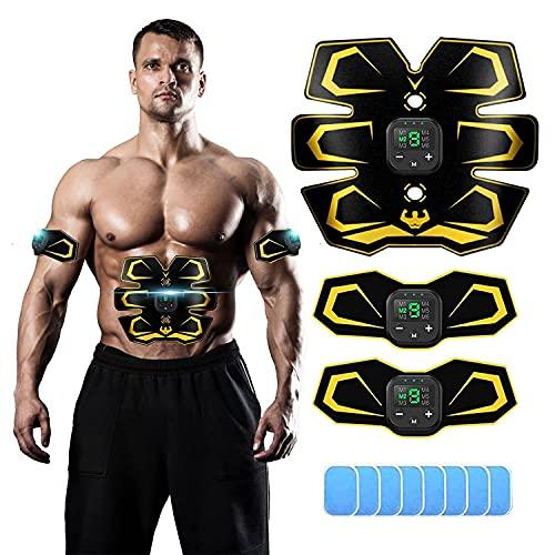 YongGe EMS Trainingsgerät- Bauchmuskeltrainer Gerät, ABS Trainer Abnehmen Geräte Muskelaufbau Geräte - Sportgeräte Zuhause, Muskelstimulator Bauchtrainer mit 6 Modi & 9 Intensitäten