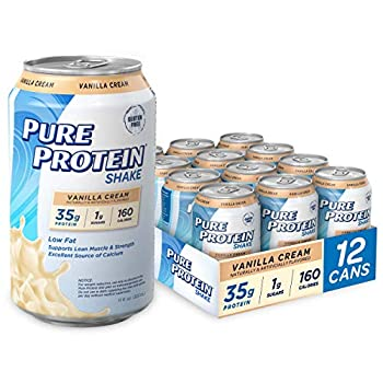 Pure Protein Vanilla Cream Protein Shake   35g Complete Protein   Ready to Drink and Keto-Friendly   Excellent Source of Calcium   11oz Cans   12 Pack