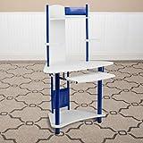 Flash Furniture Blue Corner Computer Desk with Hutch
