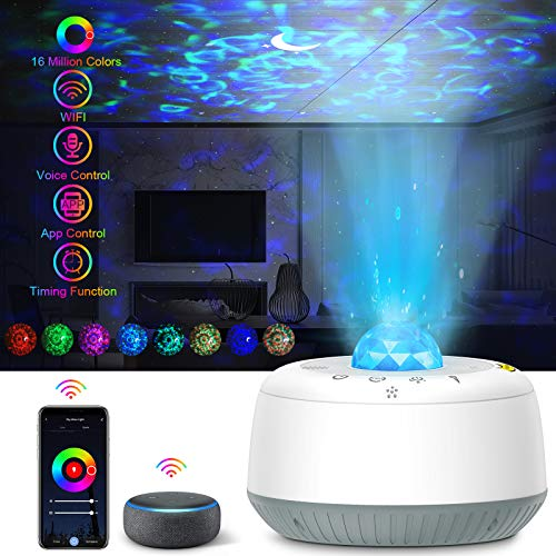 Star Projector Night Light, Work with Alexa,7 Optional Dynamic Mode Ocean Wave Projector with Voice Control Star with LED Galaxy Ocean Wave Music Speaker for Baby Bedroom,Game Rooms,Party,Home Theatre