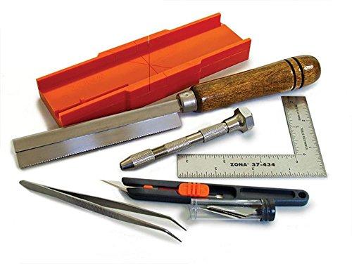 Zona 38-700 Hobby Tool Kit, Plastic Mini Miter Box 35-250, 32Tip Ultra Thin Razor Saw 35-200, Pin Vise 37-140, L-Square Ruler 37-434, Retractable Knife Set 39-850