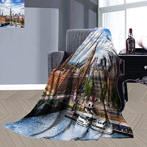 JxjwsPrints - Manta de franela para sofá (152,4 x 99,1 cm), diseño de paisaje urbano